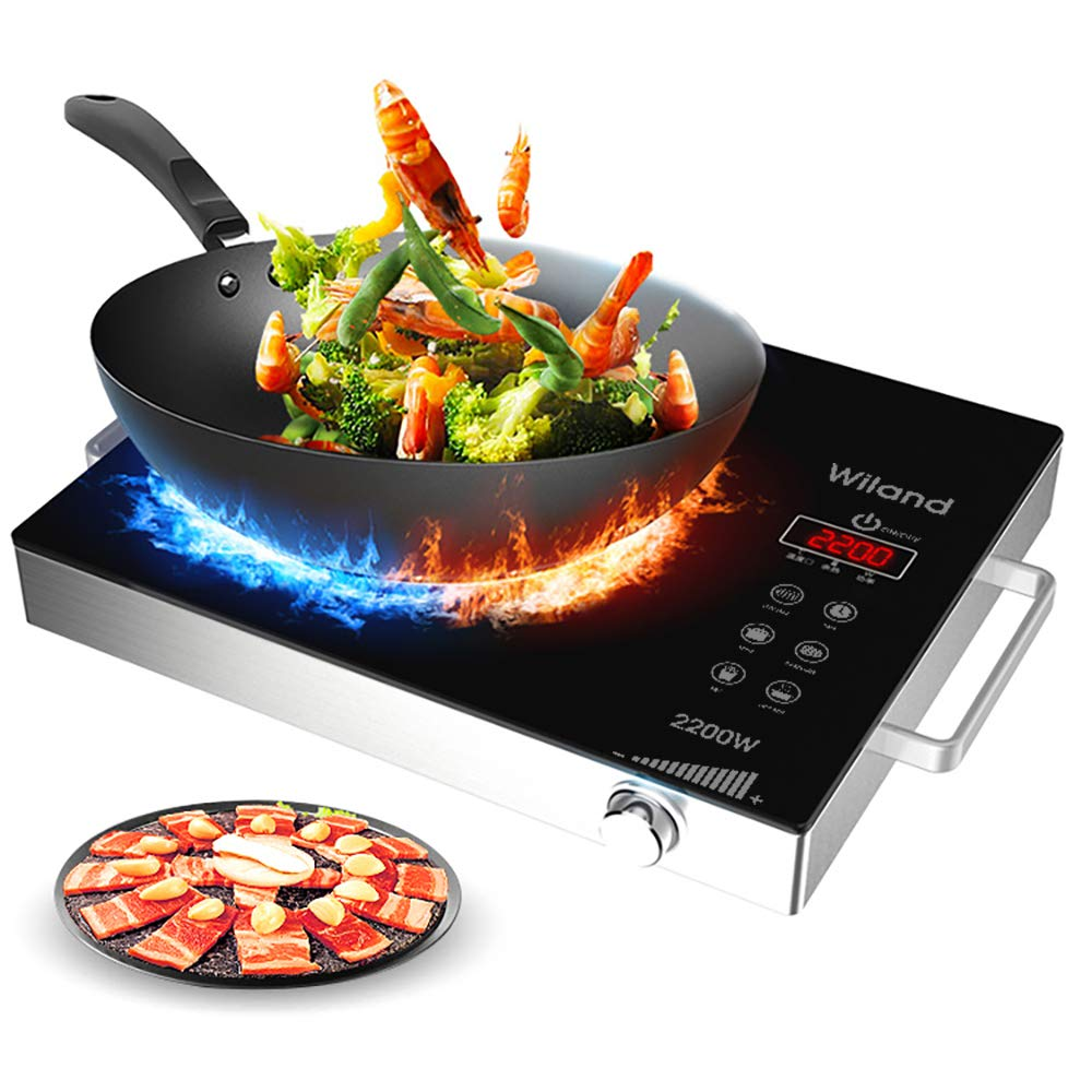 Portable Induction Cooktop Countertop Burner, 2200-Watt 120-Volts Smart Touch Sensor Countertop Induction Range Cooker, Stainless Steel Cookware with Temperature Control