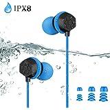 AGPTEK Auriculares Impermeables IPX8 para Natación Piscina Baño Playa y Mp3 Acuaticos, Cable de 60cm y Extensión de 100cm, 3 Tapones para Oídos de 3 Tamaños y Clips de Fijación de Cable, Azul