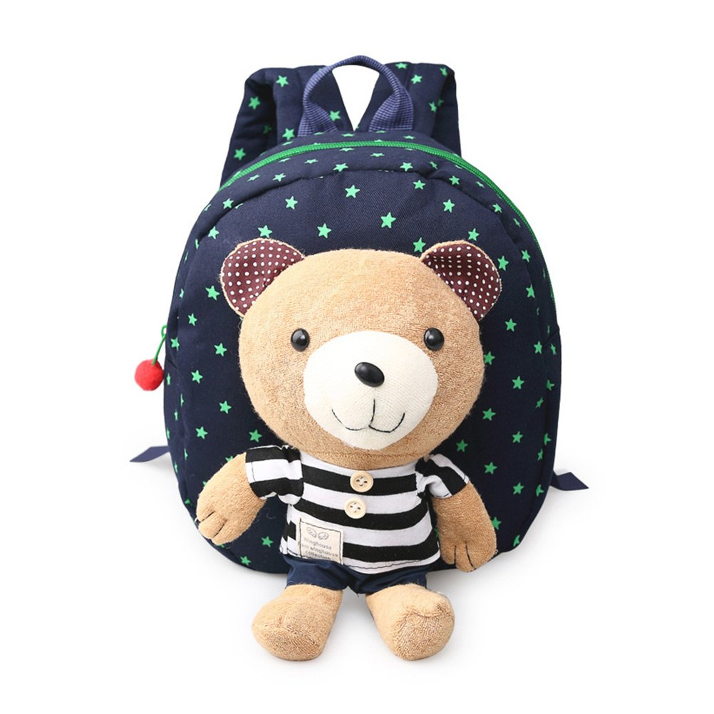 Aosbos Child Backpack Toddler Backpack Safety Harness with Rein Kids School Bag Detachable Bear Toy (Grid Bear Navy Blue)