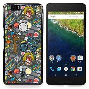 """Qstar Arte & diseño plástico duro Fundas Cover Cubre Hard Case Cover para Huawei Google Nexus 6P (Fondo de pantalla de Alien Art Dibujo Ufo Cartoon"""")"""