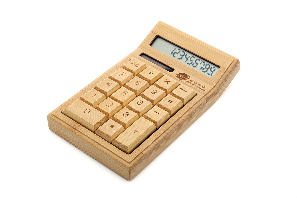 Tofern Exquisite Handcraft Large Buttons Eco-Friendly Full Bamboo Warped Solar Powered Calculator