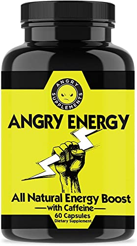Angry Energy Caffeine Capsules by Angry Supplements, All Natural Non-GMO Energy Booster, Increase Stamina Focus, Mind Body Health 1-Bottle