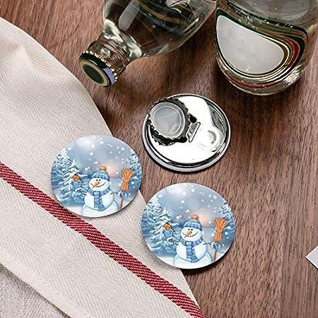 Abrebotellas redondas de muñeco de nieve trabajador / Imanes de nevera Sacacorchos de acero inoxidable Etiqueta magnética 2 piezas