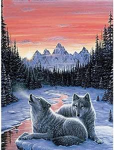 Diamante Pintura Lobo Invierno Nieve Animal Diamante ...