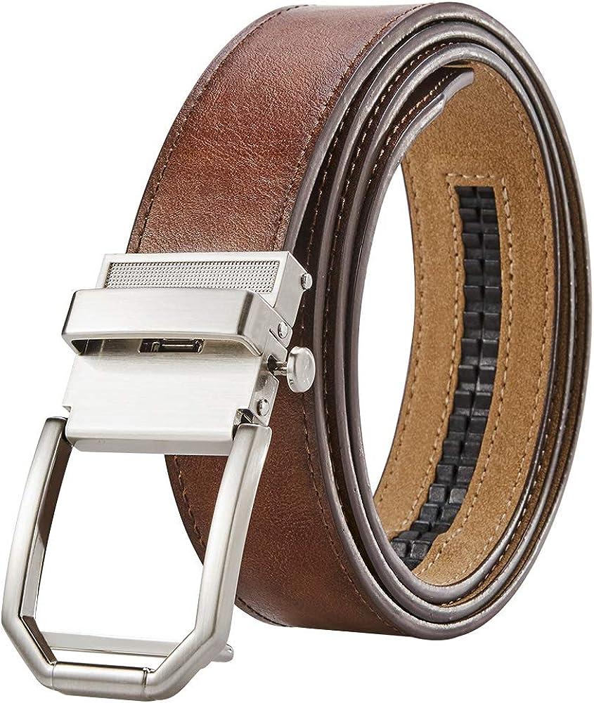 48 Men Reversible Belt Mens Dress Belt Leather Reversible 35mm In Gift Box,Size Adjustable by Trim to Fit