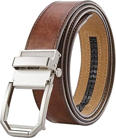 Men/'s Genuine Leather Ratchet Dress Belt for Men Trim to Fit