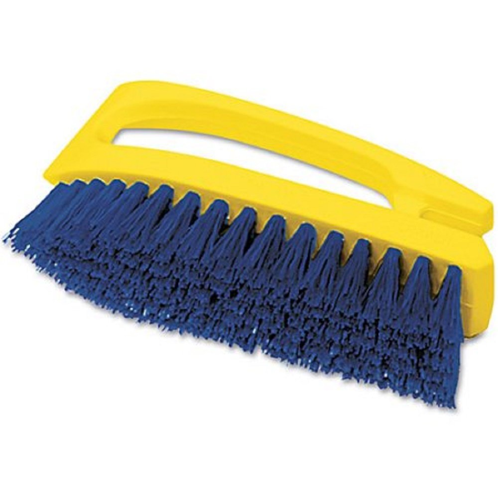 Rubbermaid Commercial Products - Rubbermaid Commercial - Iron-Shaped Handle Scrub Brush, 6' Brush, Yellow Plastic Handle/Blue Bristles - Sold As 1 Each - Molded handle gives you a powerful grip. - Long-lasting blue polypropylene fill resists stains. - Dura