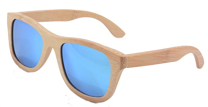 SHINU Woody Bambus Vayfarers Polyarized Flush Spiegel-Objektiv-Sonnenbrille vith Hour-Z6016 (bamboo nature, grey)