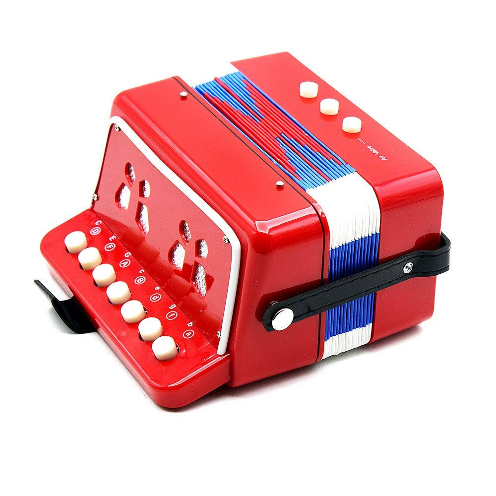 Accordion Mini Size Portable Kids Accordion with Straps 7 Keys 2 Bass Beginners Students Music Accordion Instruments Small Educational Band Musical Toys Children's Gift by Ybriefbag-Musical Instruments (Image #2)