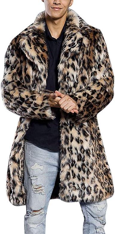 iLXHD Men's Faux Fur Trench Coat Jacket Parka Thicker Warm Outwear Cardigan