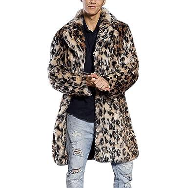 210d5f68588 Limsea 2018 Mens Faux Fur Leopard Thick Warm Fur Collar Coat Jacket Parka  Outwear Cardigan(