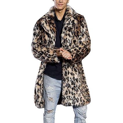 Hirolan Herren Pelzkragen-Mantel Leopard Kunstpelzmantel Dicke Jacke Kunstpelz Parka Outwear Strickjacke Pelzmantel Steppjack