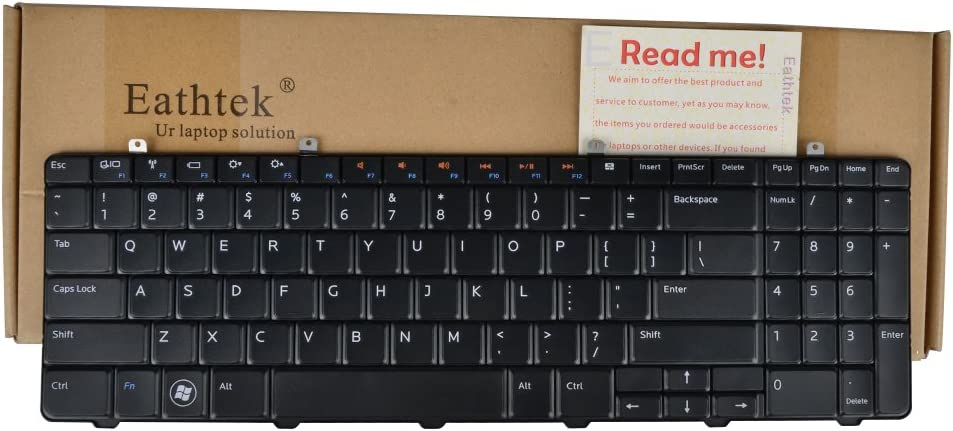 Eathtek Replacement Keyboard for Dell Inspiron 1564 Series Black US Layout, Compatible with Part Number XHKKF 0XHKKF V110546AS