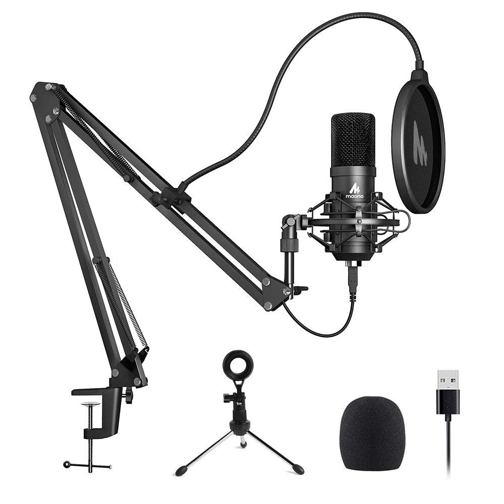 Micrófono USB MAONO A04 Plus Micrófono de condensador cardioide Podcast Mic 192kHz / 24bit Plug and Play, proporciona do