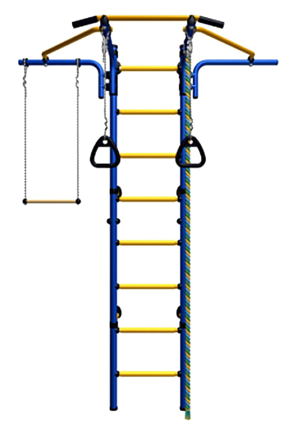 Kids Indoor Sport Playground /Wall Mounted Gym Training Set with Trapeze Bar Swing, Climber, Climbing Rope, Jump Rope, Gymnastic Rings / Suit for Backyard, School and Playroom / Comet Next 2 (Blue)