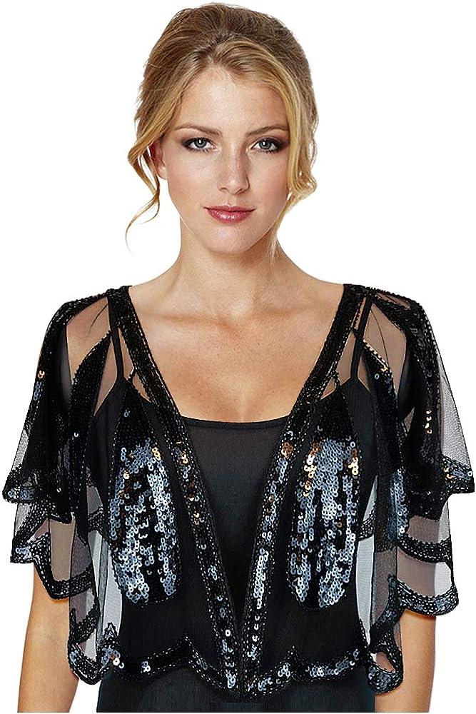 Keland - Camisa de mujer con lentejuelas brillantes para noche, chal de noche, camisa, bufanda, fiesta de boda Negro A-negro Taille unique: Amazon.es: Ropa y accesorios