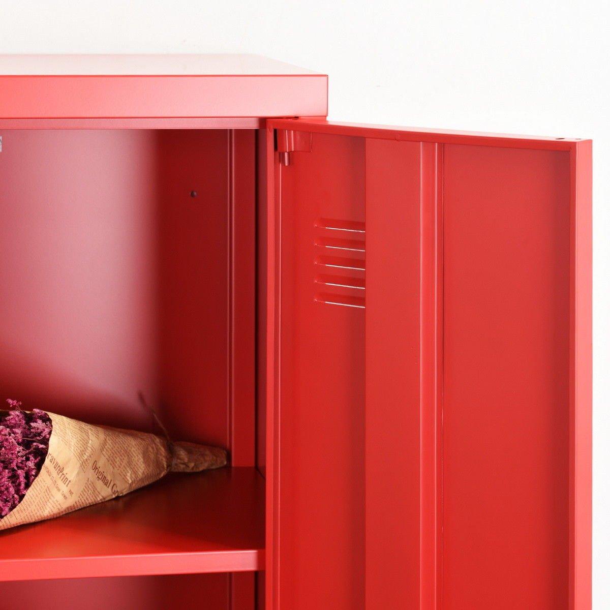 HouseinBox Office File Storage Metal Cabinet 3 Door Cupboard Locker Organizer Console Stand 3-in-1 (RED-Standing Locker) by HouseinBox (Image #5)