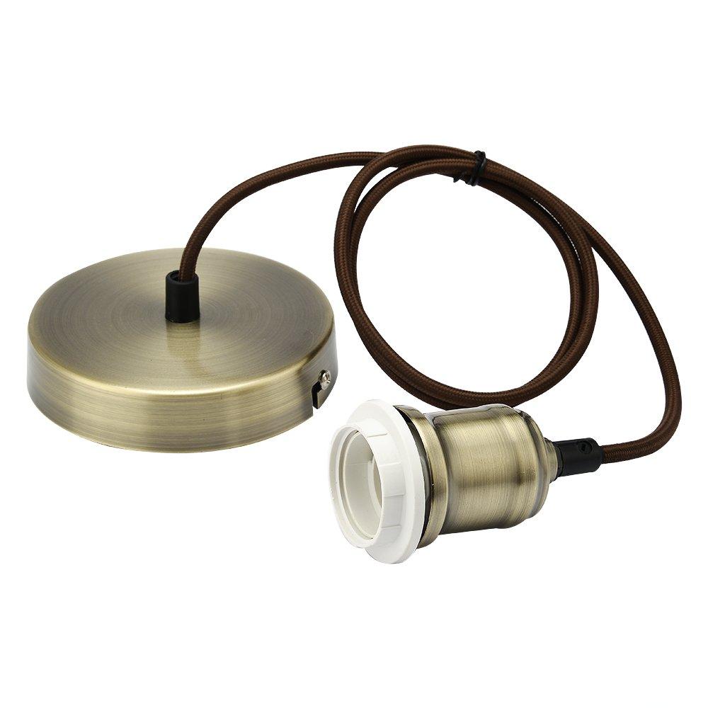 JIAHUA Braided Flex Lamp Holder, Suspended Pendant Light Fitting E27 Lamp Holder Ceiling Rose-Antique Brass