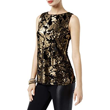 8877aad2ce5c Image Unavailable. Image not available for. Color: INC Womens Sequined Sleeveless  Blouse ...
