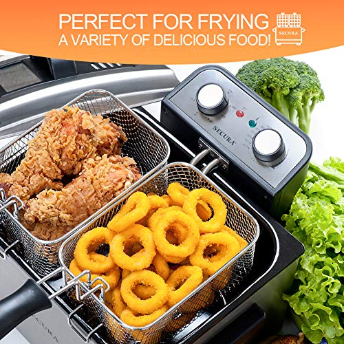 Secura Electric Deep Fryer 1800W Large Stainless Steel with with Triple Basket and Timer MSAF40DH, 4.0L/4.2Qt, Professional Grade by Secura (Image #1)
