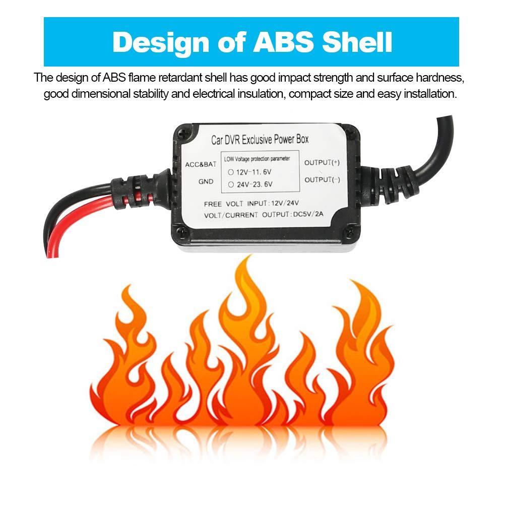 24V a 5V para c/ámaras Dash GPS Mini Alambre Duro Coche Cargador Kit de Cable USB 12V YANSHON Dash CAM Hardwire Kit