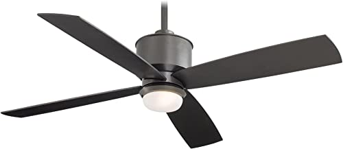 Minka-Aire F734-SI, Strata Smoked Iron 52 Outdoor Ceiling Fan with Light Remote Control