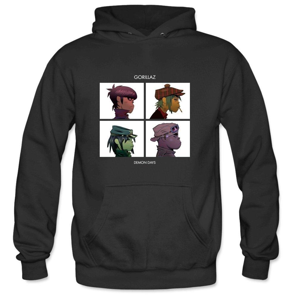 KOOLPL Men's Cool Demon Days Side Face White Frame Pullover Hooded Sweatshirt