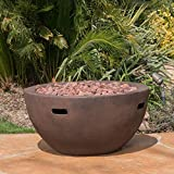 Great Deal Furniture Teresa Outdoor 34 Inch Brown Finish Light Weight Concrete Bowl Fire Pit - 40,000 BTU