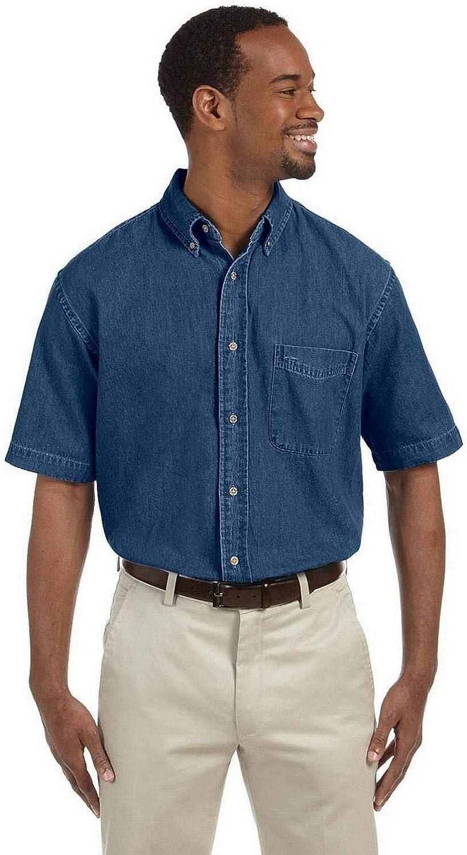Harriton Mens 65 oz Short-Sleeve Denim Shirt M550S