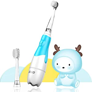 Baby Electric Toothbrush, Toddler Teeth Brushes with Smart LED Timer and Sonic Technology for Infants Ages 0-3 Years (Blue)