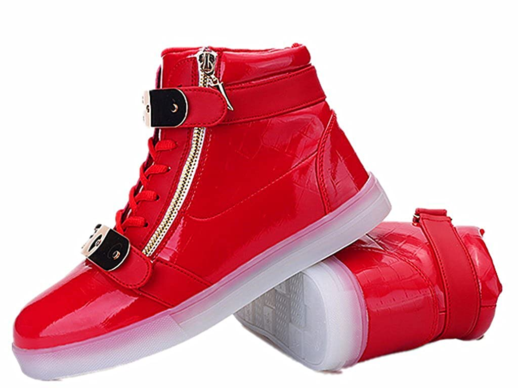 red35 Toddler//Little Kid//Big Kid XIN BARLEY Boy Girl LED Light Up Shoes Street Style Gold Tone Zip Sneakers