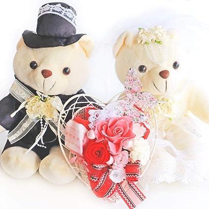 799fc4ffe14a ホワイトウエディングベア ハートパピヨン プリザーブドフラワー クリアケース付 お祝い 記念日 ギフト 結婚式