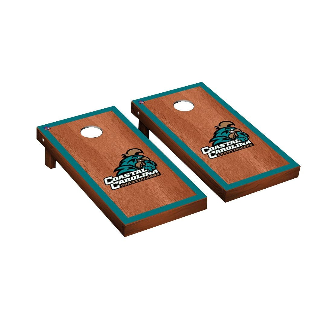 Victory Tailgate Coastal Carolina Chanticleers Regulation Cornhole Game Set Rosewood Stained Border Version