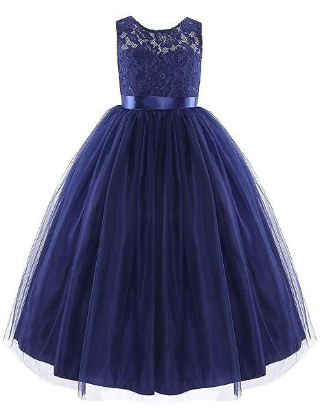 iEFiEL Vestido de Princesa Encaje Floreado para Niña Vestido de Fiesta Boda Bautizo Azul Oscuro 10
