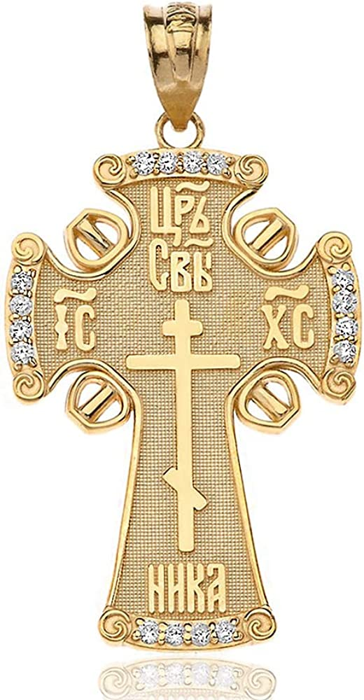 Solid 14K Gold Eastern Orthodox ICXC Cross Crucifix Charm Pendant