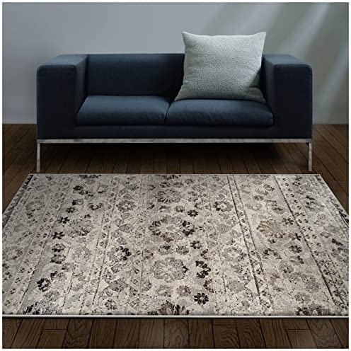 Superior Fawn Collection Area Rug, 8mm Pile Height with Jute Backing, Chic Distressed Floral Medallion Pattern, Fashionable and Affordable Woven Rugs – 4 x 6 Rug, Blue