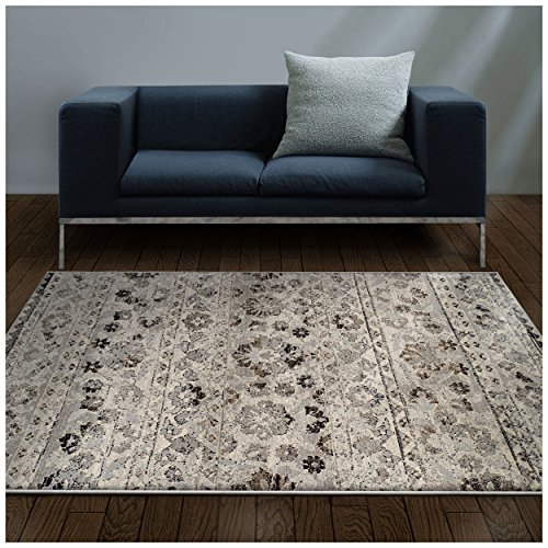 Superior Fawn Collection Area Rug, 8mm Pile Height with Jute Backing, Chic Distressed Floral Medallion Pattern, Fashionable and Affordable Woven Rugs - 5