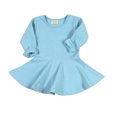 9dda36e110ee Amazon.com  Infant Toddler Baby Girls Dress Cozy Ruffles Long ...