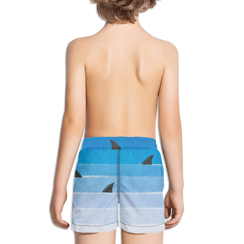 Boys Kids Blue Shark Quick Dry Beach Swim Trunk Unique Swimsuit Beach Shorts with Mesh Lining