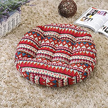 TMJJ Cotton & Linen Floor Pillow Cushion Japanese Futon Square Seat Cushion Thicken Chair Wave Window Pad 21  x 21  (Bohemia(Round))
