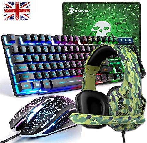 UK Layout Gaming Keyboard,Mouse, Mice Pad, Headset 4in1 Combo, Wired Rainbow Led Backlit Gamer Keyboard, DPI Adjust 6 Buttons Usb Game Mouse, Breathing Colorful Gaming Headphone, for PC Laptop (Black)