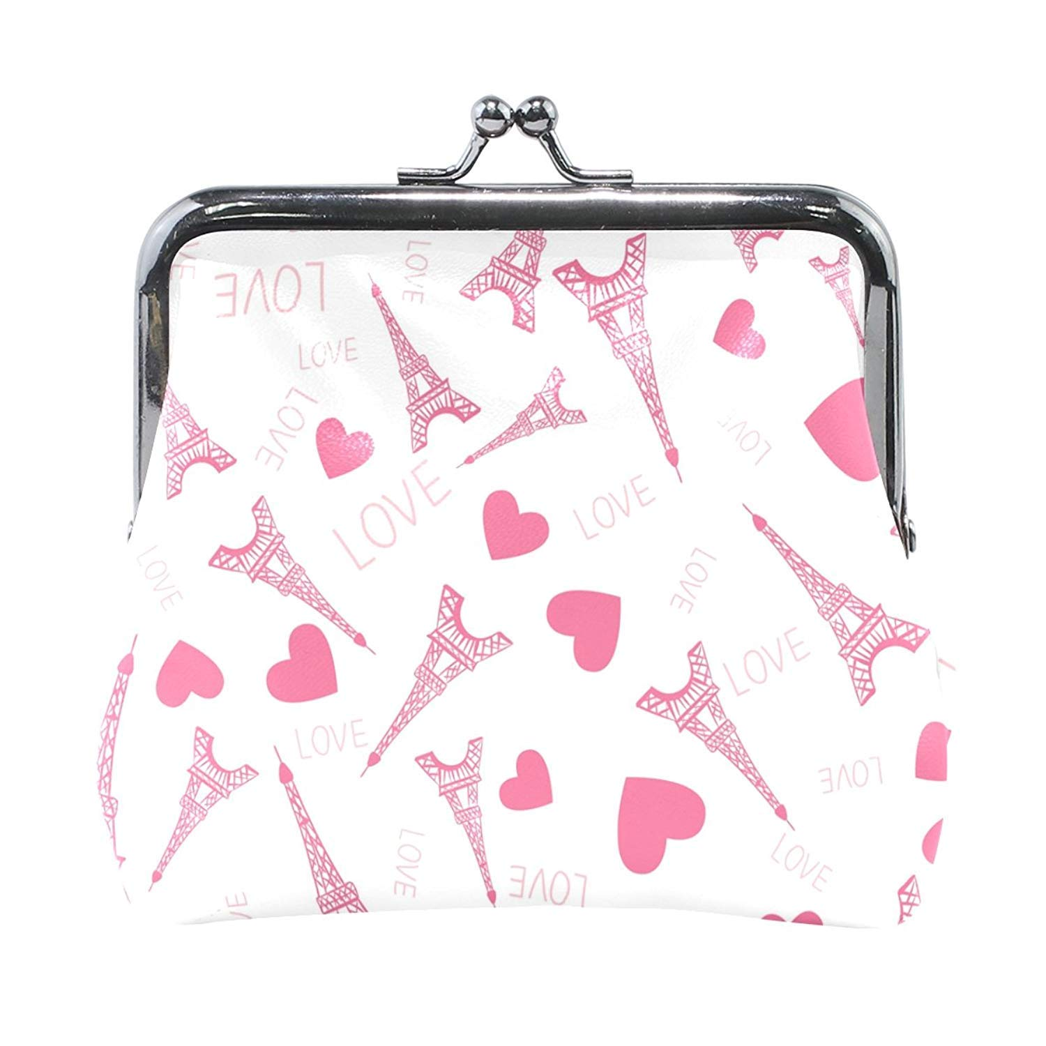 Coin Purses Eiffel Tower Love Heart Kiss-lock Buckle Vintage Clutch Cosmetic Bags by All agree (Image #1)