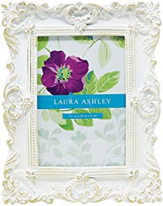 Laura Ashley 4x6 White & Gold Ornate Textured Hand-Crafted Resin Picture Frame w/ Easel & Hook for Tabletop & Wall Display, Decorative Floral Design Home Décor, Photo Gallery, Art (4x6, White/Gold)