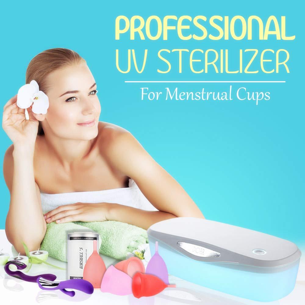 Professional UV Cleaner for Menstrual Cups, Ultraviolet Disinfection UV Light Physical Cleaner for Kegel Balls Binky Nipple & Beauty Use/Travel(White)