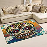 WOZO Mexico Dia De Los Muertos Sugar Skull Area Rug Rugs Non-Slip Floor Mat Doormats Living Room Bedroom 60 x 39 inches Review