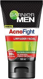 Garnier Men Acno Fight Gel Limpiador Facial Anti-Acne, Multicolor, 100 ml