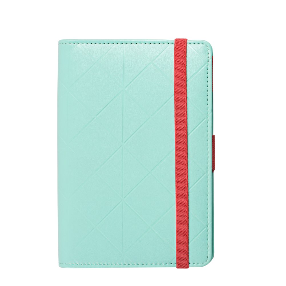 Labon's Binder Closure Refillable Writing Filofax Softcover Rhombic Banded Personal Organizer for A5 Insert Loose Leaf Paper/ Planner Calendar/ Weekly Monthly Schedule Stainless Steel 6 Rings Green