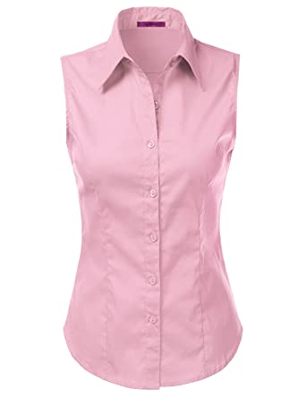 1047a1be7 Amazon.com: LA BASIC Womens Sleeveless Button Down Top BAVYPINK L ...