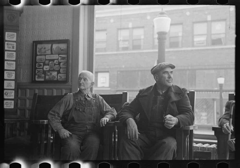 Men in the lobby of the Great Northern Hotel, Williston, North Dakota