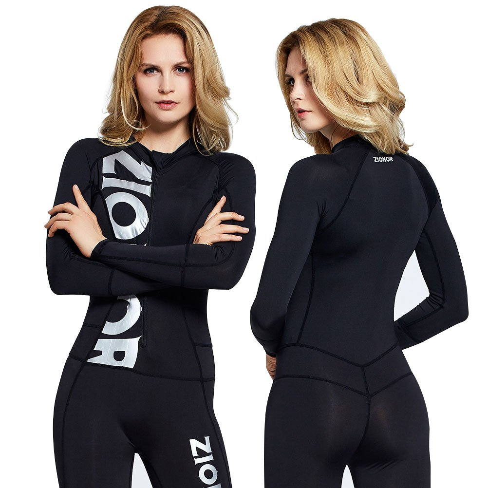 Zionor Full Body Sport Rash Guard Dive Skin Suit for Swimming Snorkeling Diving Surfing with UV Sun Protection Long-Sleeve for Women Black (Small)